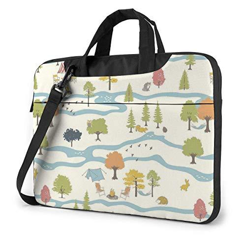 Laptop Shoulder Bag Carrying Laptop Case, Camp Nature Mount Computer Sleeve Cover, Business Briefcase Protective Bag