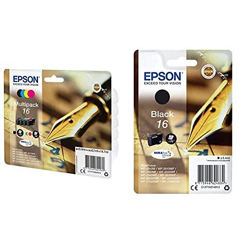 Epson 16 Series Pen And Crossword- Cartuccia D'Inchiostro, Multicolore (Black/Cyan/Magenta/Yellow) & C13T16214022 Inchiostro, Nero