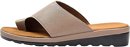 YQLWX Cómoda Plataforma Plana Sole PU Zapatos de Cuero para Mujeres Casual Soft Toe Big Toe Corrección Sandalia con Corrector de japón ortopédico (Color : Marrón, tamaño : 36)