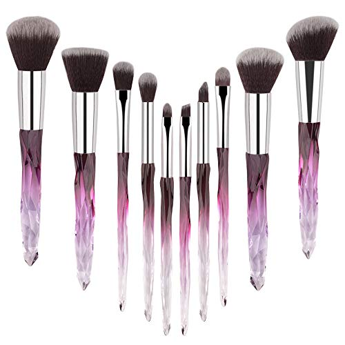 Make Up Brush Set 10 Piece Professional Makeup Brushes with Soft Bristles Hair Purple Cosmetic Brushes Collection Special Plastic Handle Eye Brushes