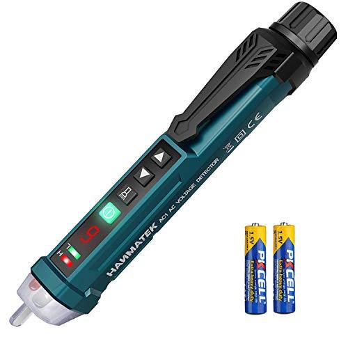 HANMATEK AC1 Detector de Voltaje sin Contacto con Pantalla LCD,12V-1000V Detector de Tension, Linterna LED/Alarma Sonora y Luminosa/Sensibilidad Ajustable, Distinción de Cable Vivo/Nulo