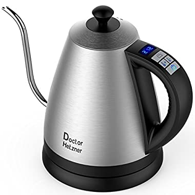 Electric Gooseneck Kettle with Preset Variable Heat Settings for Drip Coffee and Tea, Quick Boil, Stainless Steel with LCD Display, Auto Shut-off, Keep Warm Function & Strix Controller