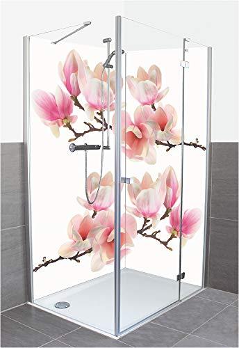 Artland Duschrückwand Eck mit Motiv Fliesenersatz Alu Rückwand Dusche Duschwand Bad 80x200 cm Natur Botanik Blumen Magnolie Zen Rosa S6DR