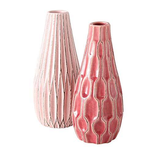 B.o.l.t.z.e 2 x Vase Lenja Steingut Höhe 24 cm