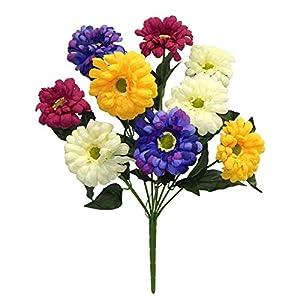 9 Zinnias Blue Yellow Pink Silk Wedding Flowers Bouquets Centerpieces Artificial