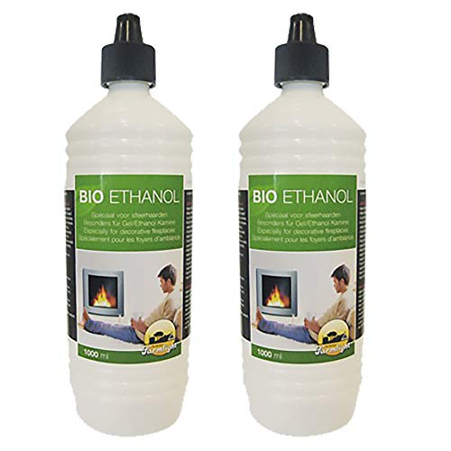 Farmlight 2 Liter Bio-Ethanol> 95% - 96,6% Premium für Ethanolkamine Gelkamine Bambusfackeln Rückstands lose Verbrennung aus nachwachsenden Rohstoffen