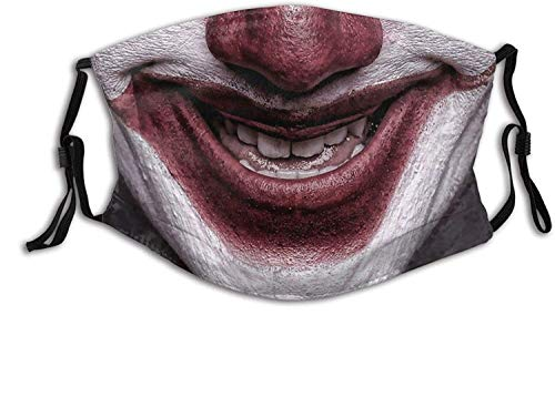 St. Patrick's Day Easter scary masks disposable made in usa balaclava Clown Smile Face Mask Unisex Balaclava Mouth Cover With Filter Windproof Dustproof Adjustable Mask-Evil Smile