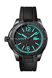 Lacoste 2010879 Silicone Contrast Markers Round Analog Watch for Men - Black