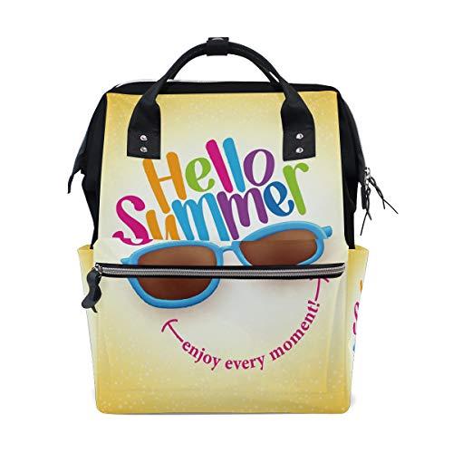 Hello Summer Smile Sac à dos à langer multifonction pour maman et femme
