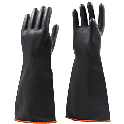 Jewboer 2 Pairs 18' Heavy Duty Rubber Gloves,Chemical Muriatic Acid Resistant Latex Gloves,Waterproof Dishwashing Household Cleaning Protective Safety Work Industrial Gloves,Black