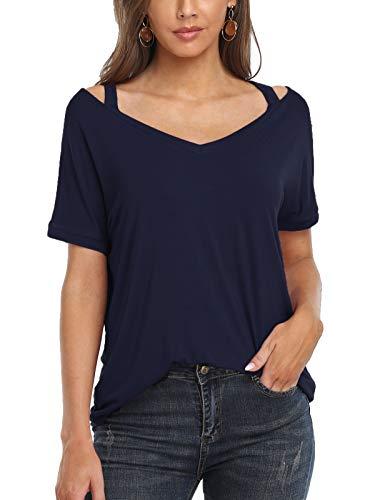 Wudodo Kurzarm Shirt Damen V-Ausschnitt Oberteil Schulterfrei Tshirt Bluse Tunika Sexy T-Shirt Off Shoulder Tops