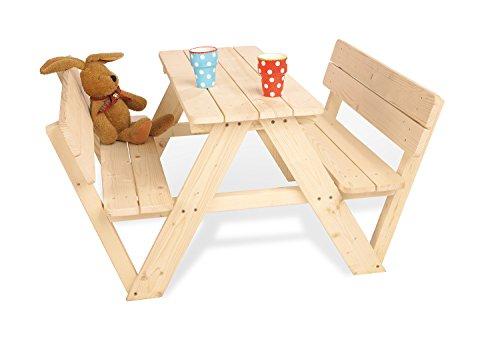 Pinolino Kindersitzgarnitur Nicki für 4 mit Lehne, aus massivem Holz, 2 Bänke mit Rückenlehne, 1 Tisch, empfohlen ab 2 Jahren, natur