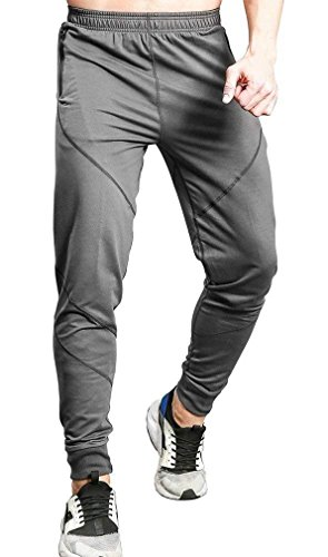 TBMPOY Men's Casual Cotton Jogger Pants Elastic Waist Running Sports Trousers Grey L