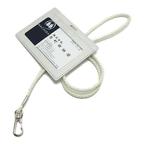 レザーIDカードホルダー(ネックストラップ付)6ミリ丸紐(太) (ベージュ)