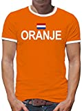 TShirt-People Oranje Niederlande Holland Vintage Flagge Fahne Kontrast T-Shirt Herren M Orange