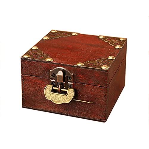 Cajas de joyería con cerradura Retro madera Joyero Organizador cajas de regalo para joyería anillos pendientes pulsera collar