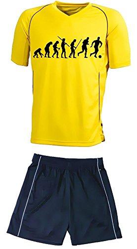 Coole-Fun-T-Shirts TRIKOTSET mit DEINEM Namen + Nummer ! Fussball Evolution Kinder Trikot + Hose gelb-schwarz, Kids 110-116 cm
