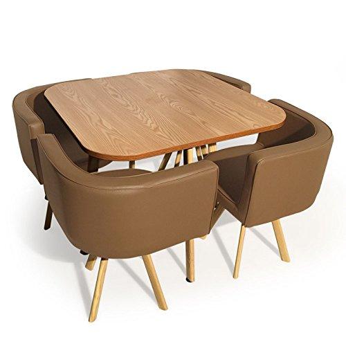 Paris Prix - Ensemble Table De Repas & 4 Chaises Design Norway Taupe