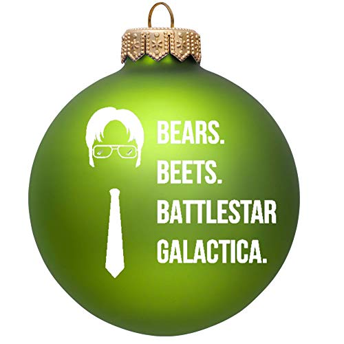 Bears Beets Battlestar Galactica Christmas Ornament - The Office Merchandise   Funny Dwight Schrute Novelty Gift for Men and Women - Dunder Mifflin Inspired Christmas Tree Ornaments