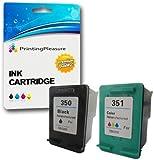 Printing Pleasure 2 XL Druckerpatronen für HP Photosmart C4280 C4380 C4480 C4485 C4580 C5280 D5360 Officejet J6410 J6415 Deskjet D4260 D4360 | kompatibel zu HP 350XL (CB336EE) & HP 351XL (CB338EE)