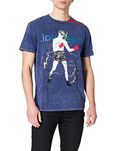 Desigual TS_CANCIO Camiseta, Azul, XL para Hombre