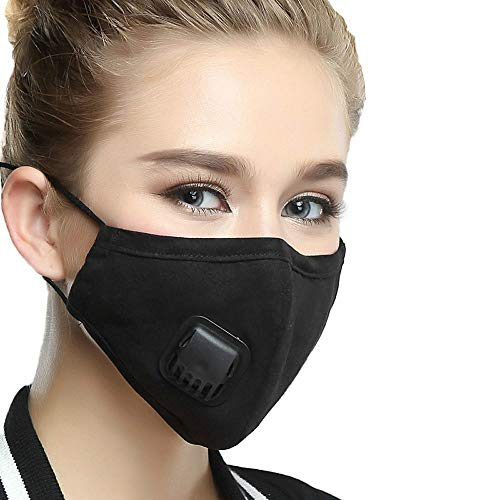 Eatcommk Face Mouth Masks with Breath Valve, PM2.5 Activated Carbon Filter Insert Balaclavas for Cycling Running, Anti Pollution Reusable Dust Mask Women Black