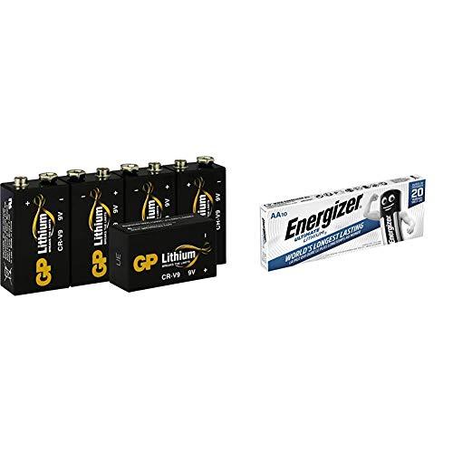 GP Lithium 9 Volt Block Batterien, 9V E-Block, 10 Jahres Batterie Longlife (5 Stück Blockbatterien) & Energizer Battery AA/LR6 Ultimate Lithiu 10-pak, 636900 (10-pak)