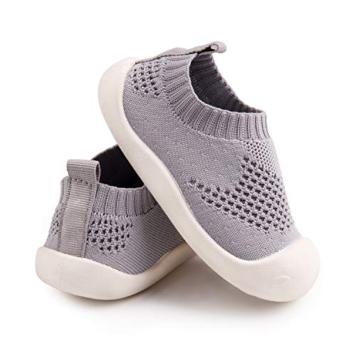 Baby First-Walking Shoes 1-4 Years Kid Shoes Trainers Toddler Infant Boys Girls Soft Sole Non Slip Cotton Mesh Breathable Lightweight Slip-on Sneakers Outdoor(Grey,7 Toddler) T21