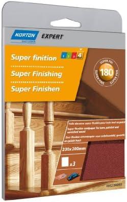 Norton Lot de 3 Feuilles 230 x 280 mm super flexible Grain 180