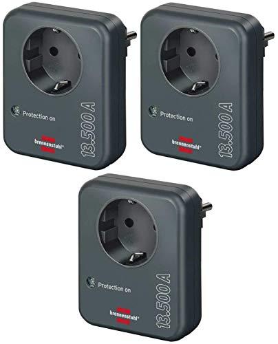 Brennenstuhl Steckdosenadapter (mit Überspannungsschutz 13.500 A, Adapter als Blitzschutz für Elektrogeräte) anthrazit (3 Stück)