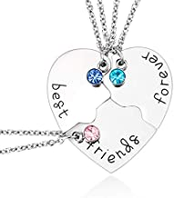 Best Friend Forever and Ever 3 Pieces Rhinestone BFF Necklace Heart Shape Pendant Friendship Puzzle Stitching Necklace