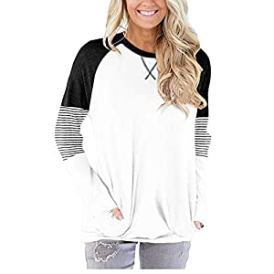 onlypuff Pocket Shirts for Women Casual Loose Fit Tunic Top Baggy Batwing Sleeve Comfy Tee...