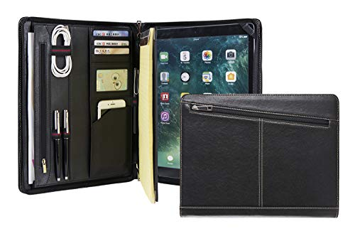 Professional Slim Padfolio for 12.9-inch iPad Pro (2018 & 2020), Full Grain Cow Leather Portfolio Case Organizer for Letter Size (A4) Notepad, Business Carrying Case