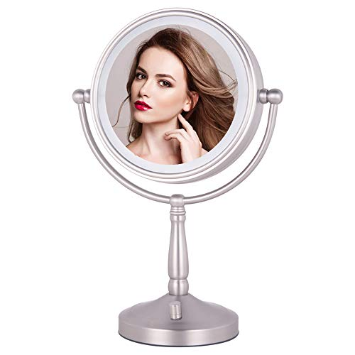 """NIESO 8"""" Lighted Makeup Mirror, 10X Magnifying Mirror Brightness Adjustable, Cord & Cordless"""