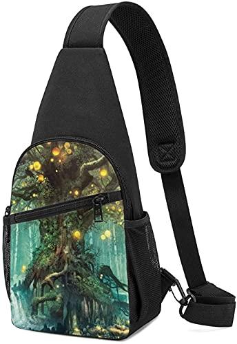 Mochila de hombro con diseño de árbol de la vida y cascada con elfo Sling Mochila de pecho para viajes senderismo