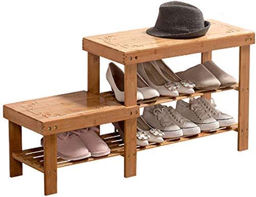 FGVBC Organizador de Taburete de Zapatos de 2 Niveles Zapatero para niños y Adultos Almacenamiento de Pasillo con Marco de bambú Natural (88x27x45CM)