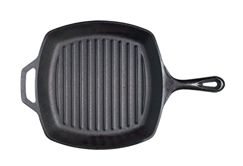 Lodge Pre-Seasoned Cast Iron Grill Pan With Assist Handle, 10.5 inch, Black