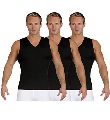 Insta Slim Mens Compression Sleeveless V Neck Muscle Shirt- Slimming Body Shaper Undershirt (Large, 3 Pack Black)