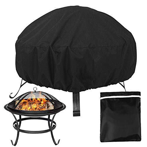 LUCOWEE Fire Pit Cover Round Waterproof Dustproof Firepit Cover Windproof Outdoor Garden Furniture Covers with Drawstring - 85 x 40cm
