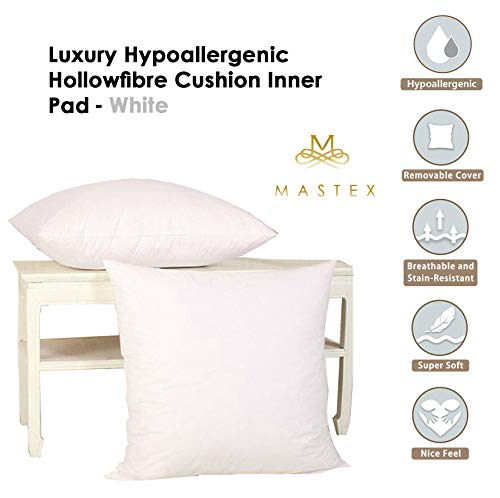 HASSTEX Pack of 2 Cushion Inner Pad - 18' x 18' (45cm x 45cm) - Hollowfibre Filling in White Color, Luxury & Hypoallergenic Scatter Inserts