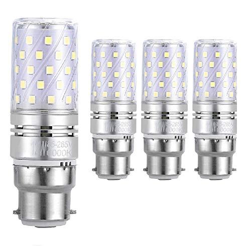 WinnowTe B22 LED Maïslampen 12W, 6000K Daglicht Wit, 1200Lm, Bajonetkap LED lampen, 100W Gloeilampen Equivalent, 4-pack