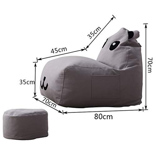 CHQYY Sillas- Animal puf - gran bolsa de frijol de algodón de los niños, frijol bolsa de asiento del sofá de la historieta, cojín dormitorio sala de juegos de seguridad for niños (con reposapiés)