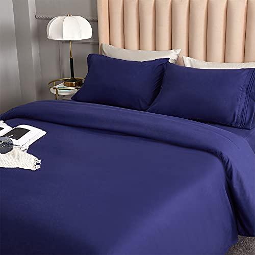 DERBELL Juego de sábanas de microfibra cepillada – Juego de sábanas – Juego de sábanas de microfibra cepillada – Resistente a las arrugas, la decoloración y las manchas – Juego