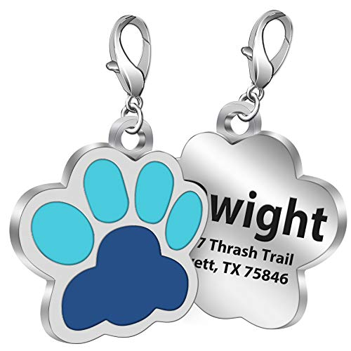 Custom Paw Pet ID Tag with Name Laser Etched on Stainless Steel, Engrave Personalized Text for Dogs Cats (Blue)