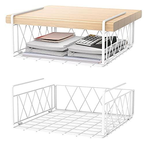 Lekind - Cestino portaoggetti sotto mensola, 2 cestini multiuso da appendere in filo metallico per cucina, dispensa, ufficio, scrivania, bagno, armadio (bianco)