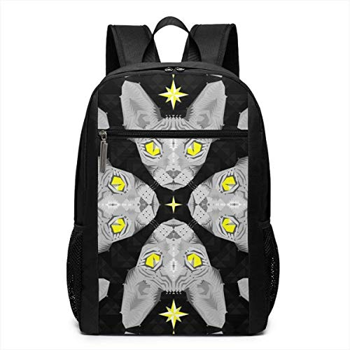 Borsa del portatile Laptop Backpack Sphynx Cat Star Business Travel Computer Bag for Women and Men College School Backpack Fits in Laptop Notebook bookbag
