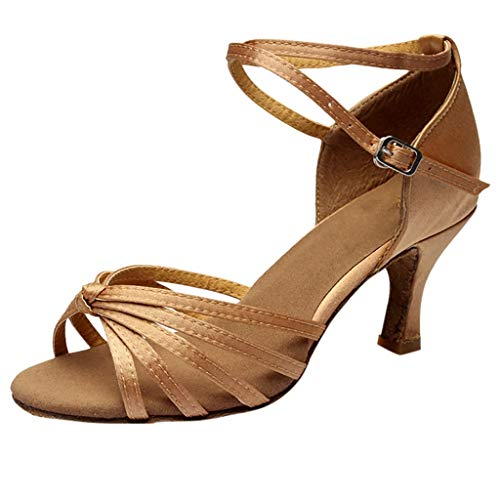 Damen Satin Latin Dance Schuhe Hohe Absätze Ballsaal Performance Sandalen - Gemütlich Weiche Sohle Standard Samba Chacha Salsa Tango Partei Tanzschuhe Celucke