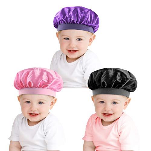 3 Pcs Enfants Satin Bonnet Nuit Sommeil Cap Élastique Large Bande Chapeau de Couchage pour Enfants Enfant en Bas Âge Enfants Bébé