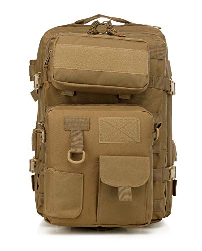 LWSS Backpack Tactical Backpack Hiking Backpack Trekking Backpack with a Large Capacity 47X33X24/Mud Color