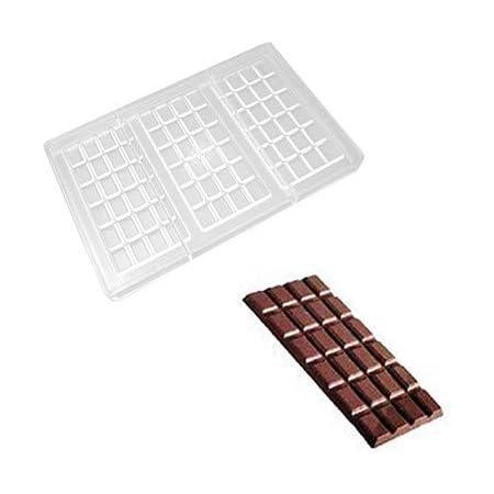 O'Creme - Molde de policarbonato transparente para chocolate, barra rectangular, 3 cavidades